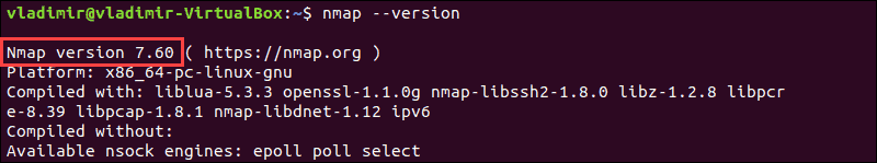 example output of checking Nmap version with output version 7.60