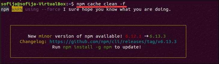 clear npm cache
