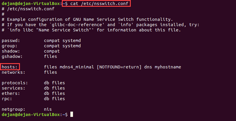 nsswitch functionality in Linux indicates DNS lookup order.