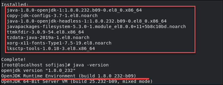 output confirming OpenJRE is installed on CentOS 8
