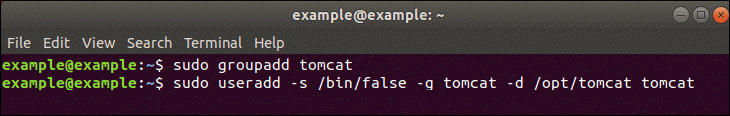 Create Tomcat User and Group.