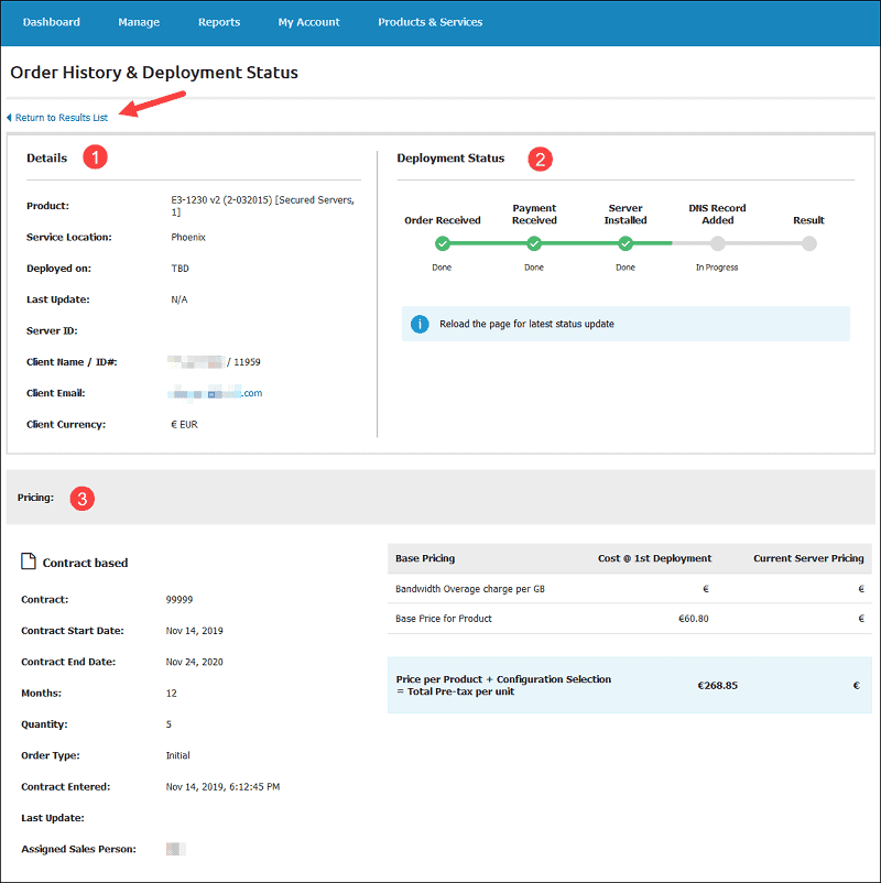 order history and status details screen in pncp