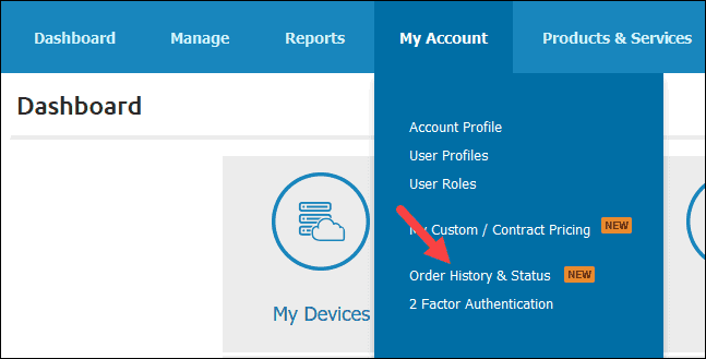 order history and status link in pncp