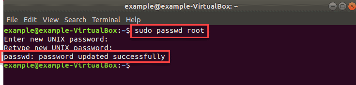 example output after ubuntu changing root password