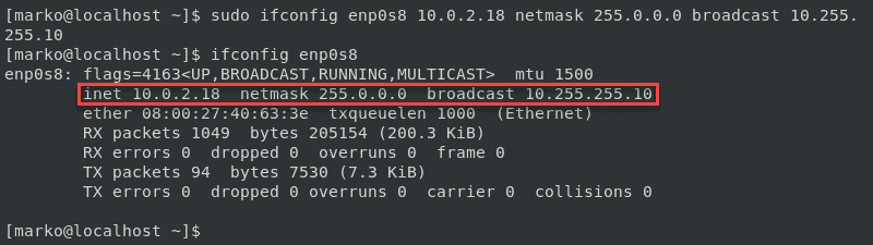 Output from ifconfig after changing IP address, netmask and broadcast in one line