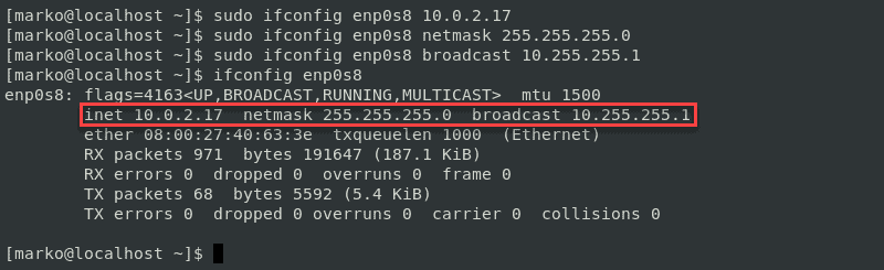Output from ifconfig after changing IP address, netmask and broadcast