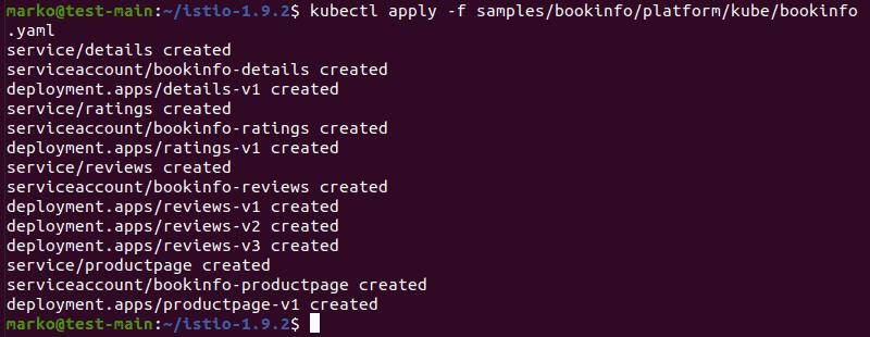Applying the bookinfo.yaml file using kubectl