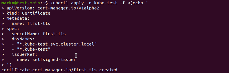 Generating a self-signed certificate with a kubectl command using cert-manager