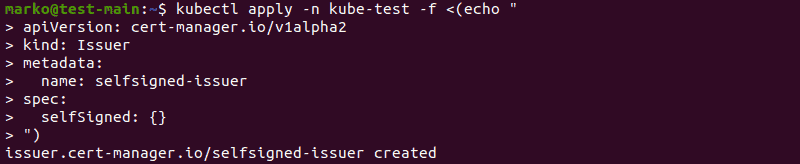 Confirming the successful creation of the certificate issuer using the kubectl command