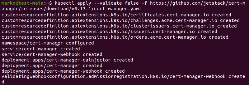 Installing cert-manager using the kubectl apply command and the yaml file