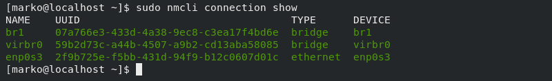 Showing available connections after adding the bridge connection