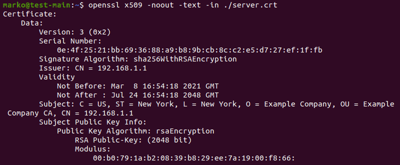 Viewing the certificate created with OpenSSL