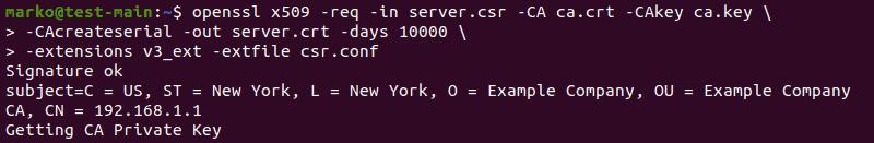 Generating a certificate in OpenSSL