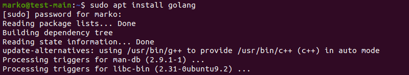 Installing the Go language packages using apt