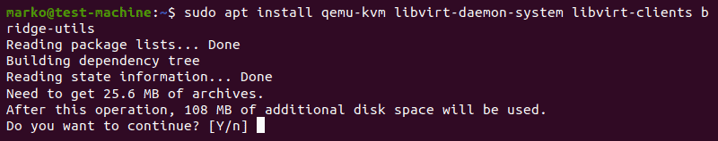 Installing the packages necessary to run KVM in Ubuntu 20.04