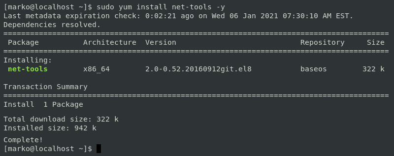 Installing the net-tools package using the yum package manager in CentOS 7