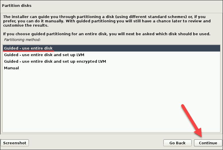 partition disk choose method