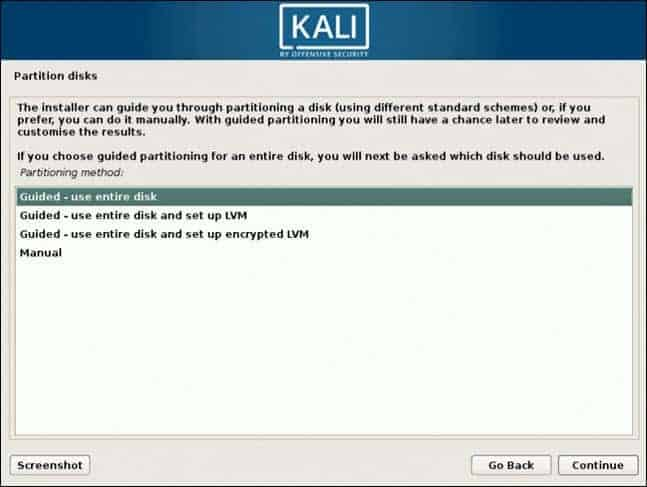 partition disk for kali virtual machine
