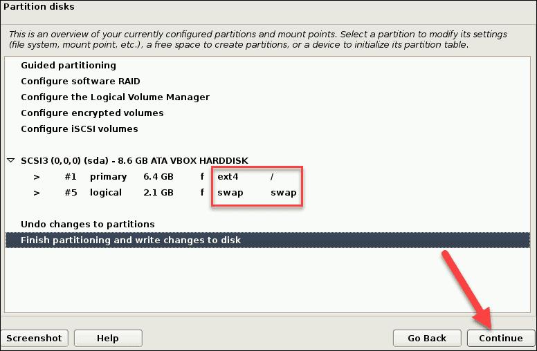 partition disks for debian overview