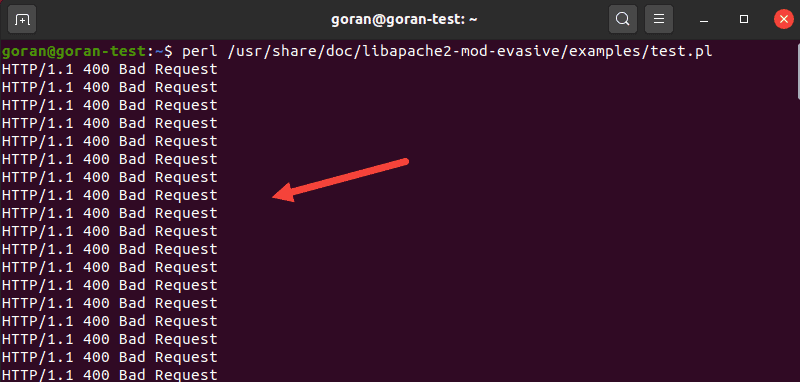 Perl script test for mod_evasive