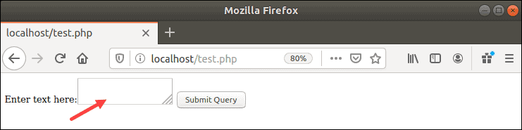 Browser showing the php test form.