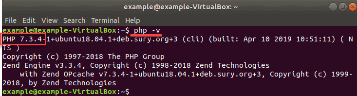 php 7.3 use of v command to check status on Ubuntu system