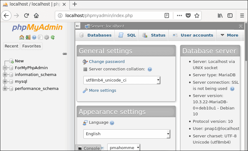 The phpMyAdmin grahical user-interface.