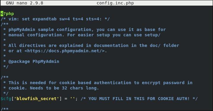 phpMyAdmin configuration file.