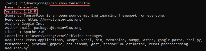 pip show tensorflow in virtual environment output