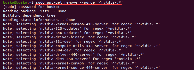 Remove all Nvidia packages from Ubuntu 20.04.