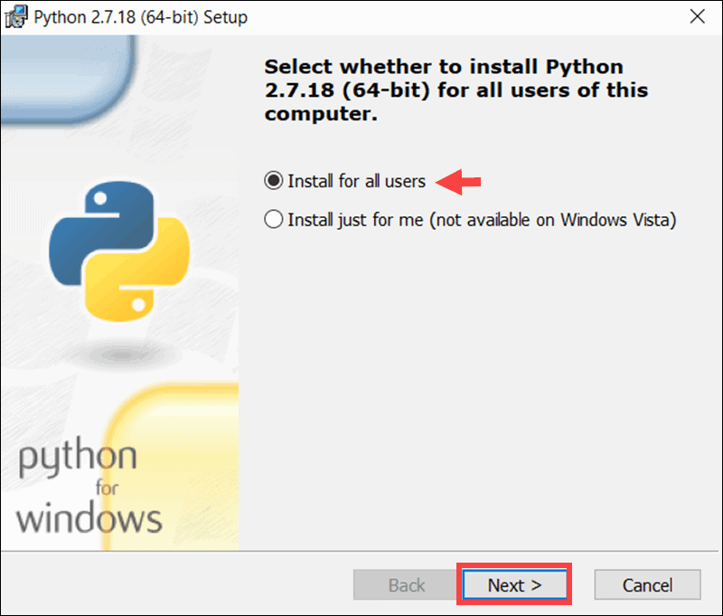 Install Python 2.7 for all users.