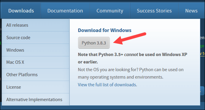 Python download page for version 3.8.3