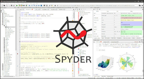 Spyder IDE with the official logo in the center