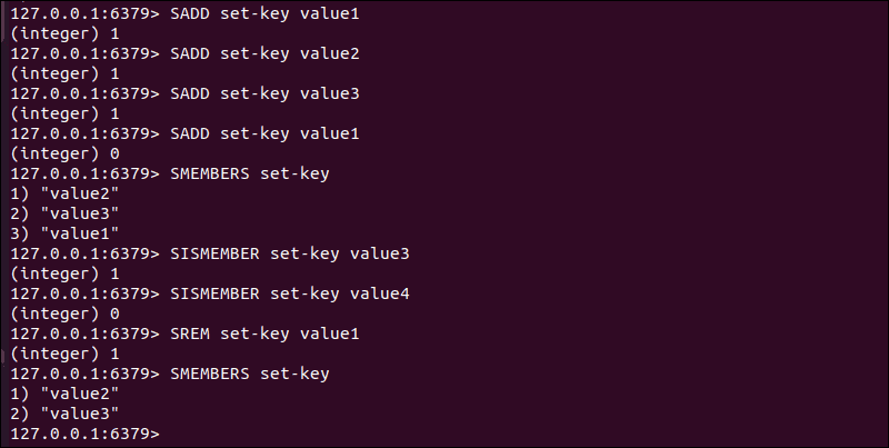Basic commands used on Redis Sets.