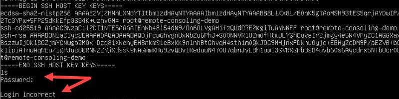 Remote console invalid user