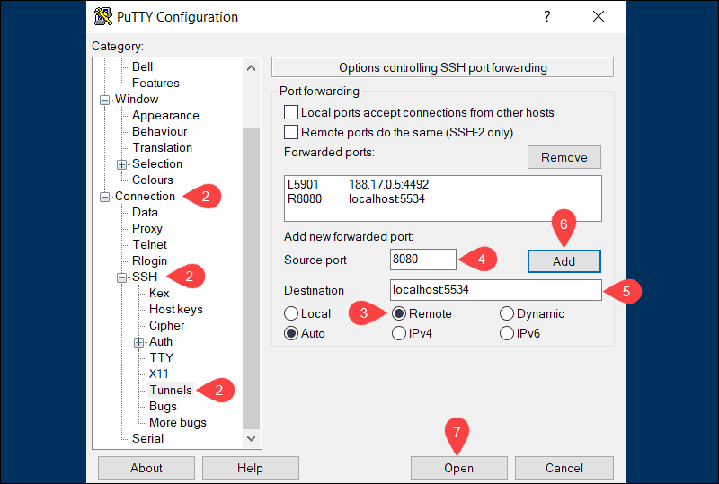 Steps you need to take to establish a remote SSH tunneling connection.