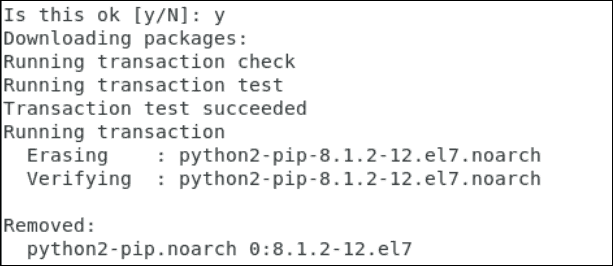 screenshot of Remove Pip from CentOS