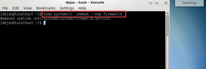 unmask firewalld service