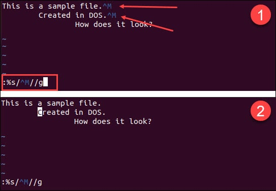 Remove the carriage return line ending using the vi text editor.