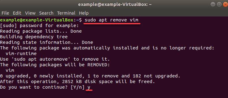 removing the vim installation from ubuntu 18.04