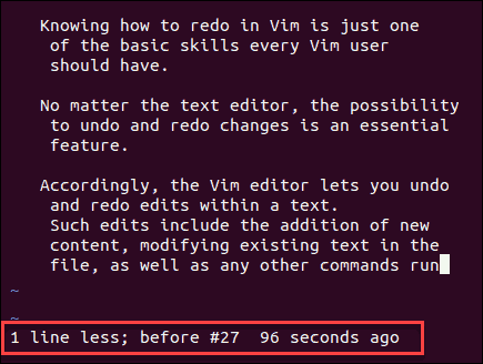 example of undoing changes in Vim