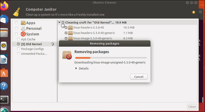 A progress bar infroms you how quickly the kernel removal is proceeding.