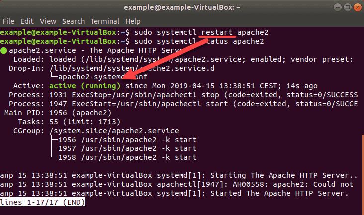 screenshot after restarting apache ubuntu