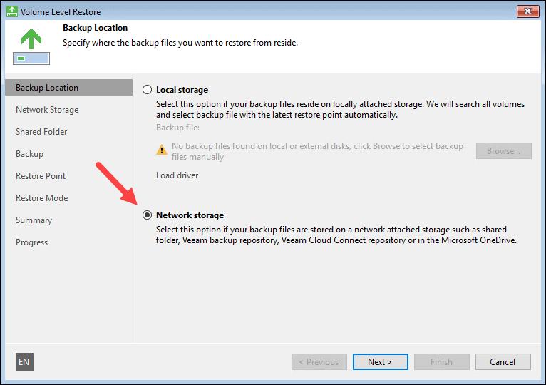 Select backup location