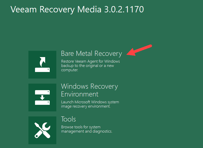 Bare Metal Recovery wizard