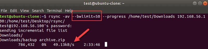 Rsync bwlimit terminal output