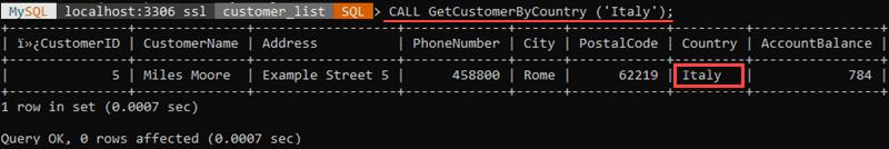 Execute a stored procedure using MySQL Shell.