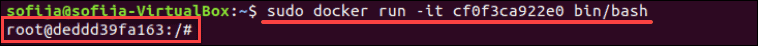 docker command to run ubuntu image into a container