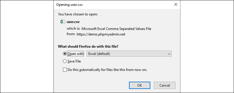 A prompt allowing you to save file in CSV format