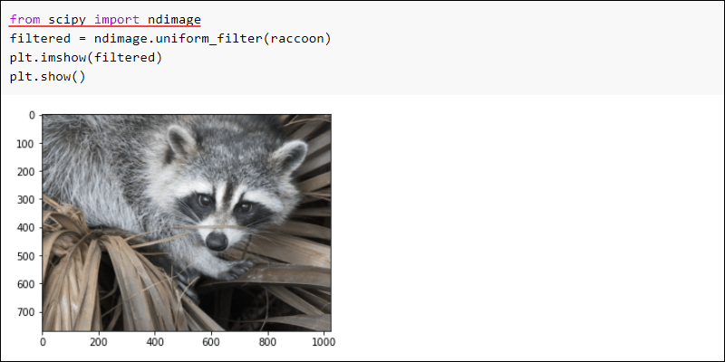 SciPy ndimage uniform filter example